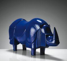 A blue rhino sculpture by Francois-Xavier Lalanne