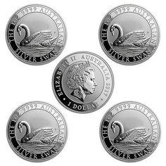 Schwan Silbermünzen aus Australien, hier im 5er-Pack - Silver Swan Australia - 5x 1oz silver