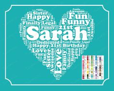 Personalized 21st Birthday Gift 21st Birthday Word Art 21st Birthday 8 x 10 Print Twenty First Birthday Birthday Gift Ideas