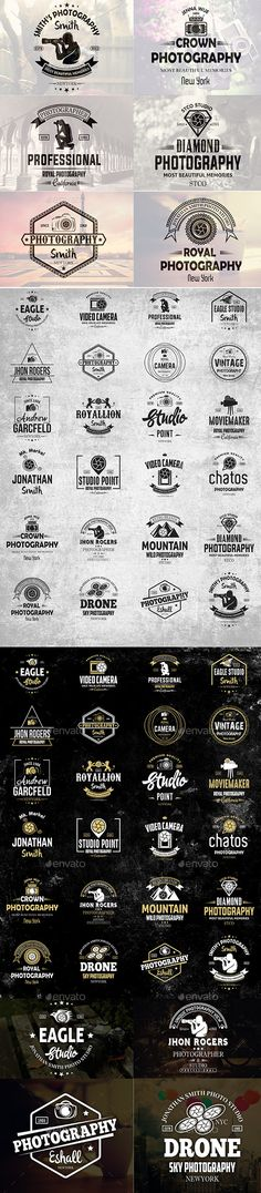 Photography Vintage Logos & Badges Template Vector EPS, AI Illustrator