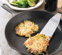 Ham and noodle fritters