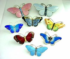 Aksel Holmsen Norway Enamel on Sterling Butterfly Pins