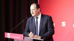 Jean-Christophe Cambadélis lors d'un discours à Paris, le 29 mai 2015. | CITIZENSIDE / CHRISTOPHE BONNET / AFP