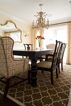 fun patterned dining rooms.  great example of adding interest without adding much color.