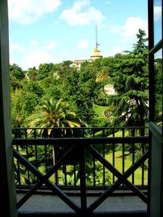 The Vatican Garden through a window in the Museum. Rome.