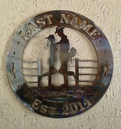 """Wedding Wall Badge - Western/Texas style. 18""""- cut from 11ga steel-(.115)-right at an 1/8"""" thick.with a hanger welded on the back. As shown here metal patinas and then heavy coat of clear coat powder coat. $99.00 plus tax and shipping. Also can be ordered in 16""""-12ga (.094 thickness)- for $75.00 plus tax and shipping~JDH Iron Designs www.starsovertexas.com email me: jimmydon@starsovertexas.com or call or text254 749 2925"""