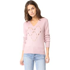 Fuzzi Heart Sweater ($380) ❤ liked on Polyvore featuring tops, sweaters, light pink, light pink sweater, v neck sweater, fuzzy sweaters, pink heart sweater and wool v-neck sweater