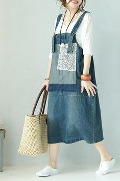 Vintage Lace Blue Denim Overalls Women Summer Suspender Q1100