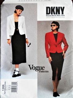 9d0452bea71 DKNY Vogue American Designer pattern. Vintage 1994 Donna Karan New York  skirt suit pattern. DKNY Paris chic style. Size 8-12.