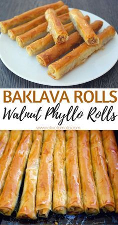 From- Baklava Rolls Walnut phyllo rolls. If you love baklava, you can make this easy, vegan, healthier version at home. Walnuts wrapped in phyllo and drizzled with syrup is a perfect dessert any time of the day. Greek Desserts, Greek Recipes, Just Desserts, Delicious Desserts, Yummy Food, Greek Sweets, Lebanese Desserts, Slovak Recipes, Arabic Recipes