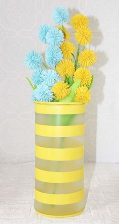One Large Yellow striped Hand Painted Glass Vase by RedEggBoutique, $ ...