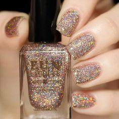 Bronze Holographic Glitter Nail Polish.