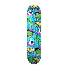 Rude Boyz 28 Inch Wooden Graphic Printed Display Skateboard Deck  Eyeballs and Brains Design ** Want additional info? Click on the image.