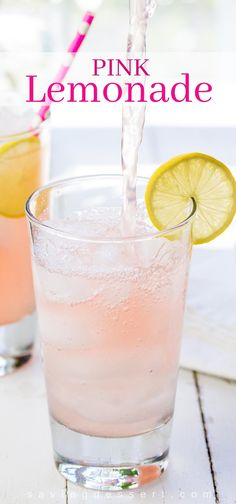 Pink Lemonade ~ bright, tart and lightly sweet, this lovely pink hued summer beverage is very refreshing and super easy to make! #pinklemonade #homemadelemonade #lemonade #summerdrinks #easylemonade #lemon