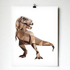Trex art print geometrische dinosaurus kunst Kids door villavera