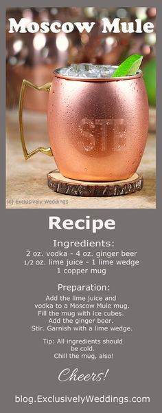 The best Moscow Mule Recipe! While the Moscow Mule is a delicious combination of vodka mixed with fizzy ginger beer (non-alcoholic) and tart lime, the use of a copper mug makes this great cocktail even better!: