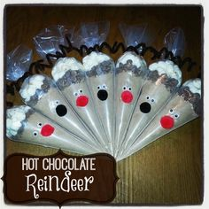 These are so super easy and fun to make! You can change them up and give them your own personal touches. Gather your supplies: 7 ~ pastry bags 7 ~ brown pipe cleaners 7 ~ red pom poms Christmas Food Gifts, All Things Christmas, Holiday Fun, Christmas Time, Christmas Bulbs, Merry Christmas, Reindeer Christmas, Holiday Foods, Christmas Goodies