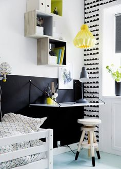 Decorating ideas for children's bedrooms. Paint half and half in different colours. Monochrome is a great background for throwing in colour accents.