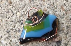 funky copper wrapped fused glass pendant by PiecesofhomeMosaics, $20.00