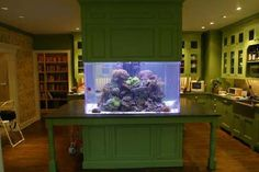 don't really know if id like a fish tank on my kitchen island, but it sure is cool haha