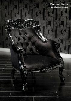 Fauteuil baroque velour noir
