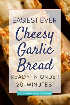 Easy Cheesy Garlic Bread is the perfect appetizer or side dish! This homemade loaf recipe is quick to put together, is super tasty, and is honestly better than anything you'll get at your local pizza restaurant! #easyappetizer #cheesybread #garlicbread #italianrecipes #tailgate #buffet #superbowl