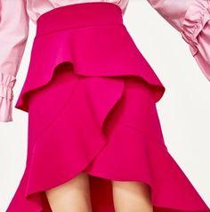 What Your Favorite Gossip Girl Characters Would Buy From Zara Today via Frill Skirts, Zara Skirts, Ruffle Skirt, Dress Skirt, Ruffles, Vestidos Zara, Fuchsia, Girls Characters, Zara Women