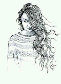 alone, art, drawing, dress, fashion, hair, love, sad, style