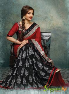 Soha Ali Khan Red and Black Sequins Border Faux Georgette Saree