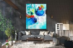 Large Painting on Canvas,Extra Large Painting on Canvas,gold canvas painting,unique painting art,large office art FY0082