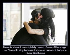 Music is where I'm completely honest. Some of the songs I don't want to sing because they're so raw and it hurts me - #amywinehouse #blakefieldercivil #quote