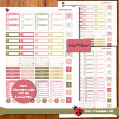 Meal Planner Stickers, fits Erin Condren Planner Stickers, Planner Stickers Printable, Weekly Diet Planner Stickers, Meal Planner ST-266 by BestPrintables4U on Etsy