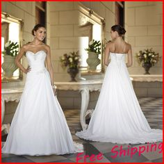 Free shipping Stock Cheap Chiffon Beach China ball gown Elegant Backless Bridal Dress Plus Size a line Wedding Dresses 2016 hot