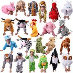 Niños de la historieta Niños Disfraz de Animal Cosplay Ropa Dinosaurio Elefante Tigre de Halloween Animales Mono Trajes para la Muchacha Del Muchacho