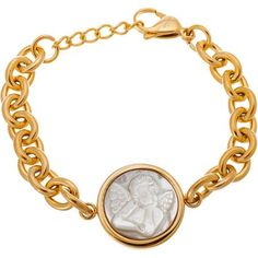 Women's Gold Stainless Steel Cable Chain Angel Bracelet
