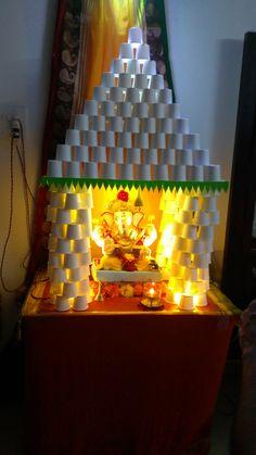 Ganpati Decoration Theme, Eco Friendly Ganpati Decoration, Ganapati Decoration, Diwali Decorations At Home, Backdrop Decorations, Festival Decorations, Ganesh Pooja, Ganesha, Diy Crafts For Gifts
