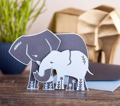 This adorable interlocking elephants card is perfect for Mother's Day.