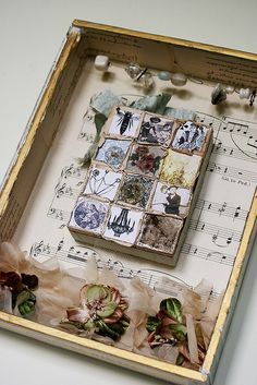 cigar box collage/shadow box idea: can place picture in the middle Cigar Box Art, Cigar Box Crafts, Paper Art, Paper Crafts, Diy Crafts, Mixed Media Collage, Collage Art, Altered Cigar Boxes, Assemblage Art
