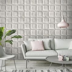 Waverly Tin Tiles Feature Wall Wallpaper - Taupe