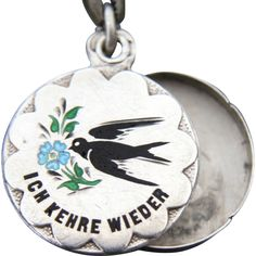 """Victorian Swallow Friendship Slide Locket Charm, """"I'll Be Back"""". Austro Hungarian, Language Of Flowers, Swallows, Locket Charms, Silver Charms, True Love, Friendship, Forget, Victorian"""
