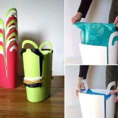 Reduce plastic bag clutter and keep your home clean with this trash bin. Green Waste Bin, Next Bags, Trash Bins, Deco, Clutter, Reuse, Recycling, Cleaning, Simple