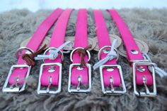 Pink Leather Buckle Dog Collars - www.dogdoggoose.ca