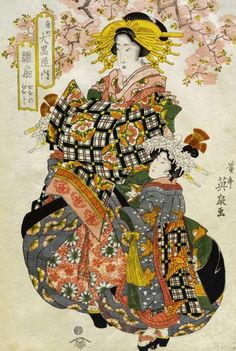 Keisai Eisen / 渓斎 英泉 (Japanese, 1790–1848) ~Beauties of the Yoshiwara at Daikoku House.  Eisen was a Ukiyo-e (woodblock print) artist who specialised in Bijinga (pictures of Beautiful Women)