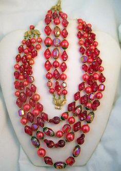 Vintage Trifari Red Art Glass Bead & Pink Faux Pearl Necklace Bracelet Set