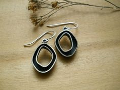 chunky organic hoop earrings, sterling silver, hand forged, dangle, READY TO SHIP