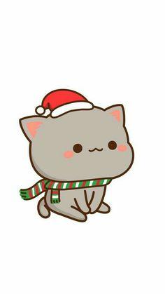 Getting ready for Christmas Kawaii Anime, Kawaii Cat, Kawaii Chibi, Cute Chibi, Cute Kawaii Drawings, Cute Cat Drawing, Cute Animal Drawings, Wallpaper Gatos, Wallpaper Kawaii