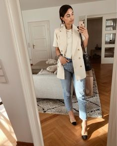 Shop Your Screenshots™ with LIKEtoKNOW.it, a shopping discovery app that allows you to instantly shop your favorite influencer pics across social media and the mobile web. Sleeveless Blazer, Blazers, Fashion Looks, Denim, Chic, Work Outfits, My Style, Jeans, How To Wear