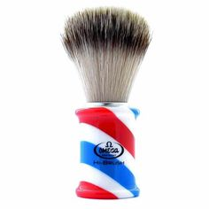 The Omega Barber Pole shaving brush has a distinctive handle created in the style of a classic barbershop pole. The soft high tech synthetic fibers simulate badger hair and are gentle and luxurious on the skin. The specially developed animal friendly brush will effortlessly work up lather from your shaving cream of choice.   -Made in Italy