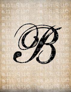 Antique Letter B Script Monogram Digital Download for Dictionary Pages, Papercrafts, Transfer, Pillows, etc.Burlap No 7511. $1.00, via Etsy.