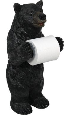 Learn how to decorate your cabin with our black bear decor! Shop our amazing Black Bear Standing Toilet Paper Holder for your cabin bear bathroom. Free Standing Toilet Paper Holder, Unique Toilet Paper Holder, Toilet Paper Storage, Black Bear Decor, Bathroom Humor, Bathroom Ideas, Bathroom Stuff, Bathroom Storage, Basement Bathroom